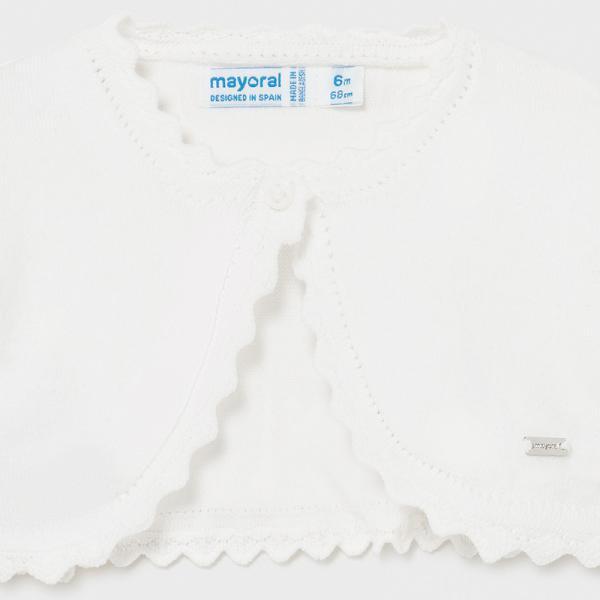 Biały sweter bolerko niemowlęce 306 Mayoral