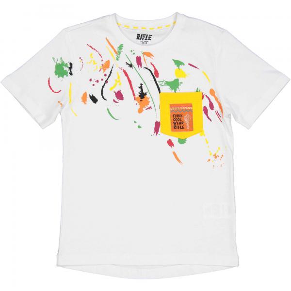 Biały T-shirt  chłopięcy  z kieszonką 24384 Rifle