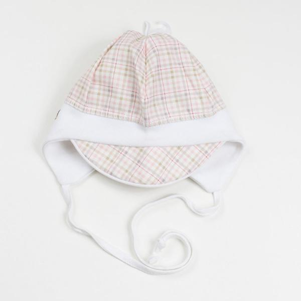 Niemowlęca czapka z daszkiem w kratkę