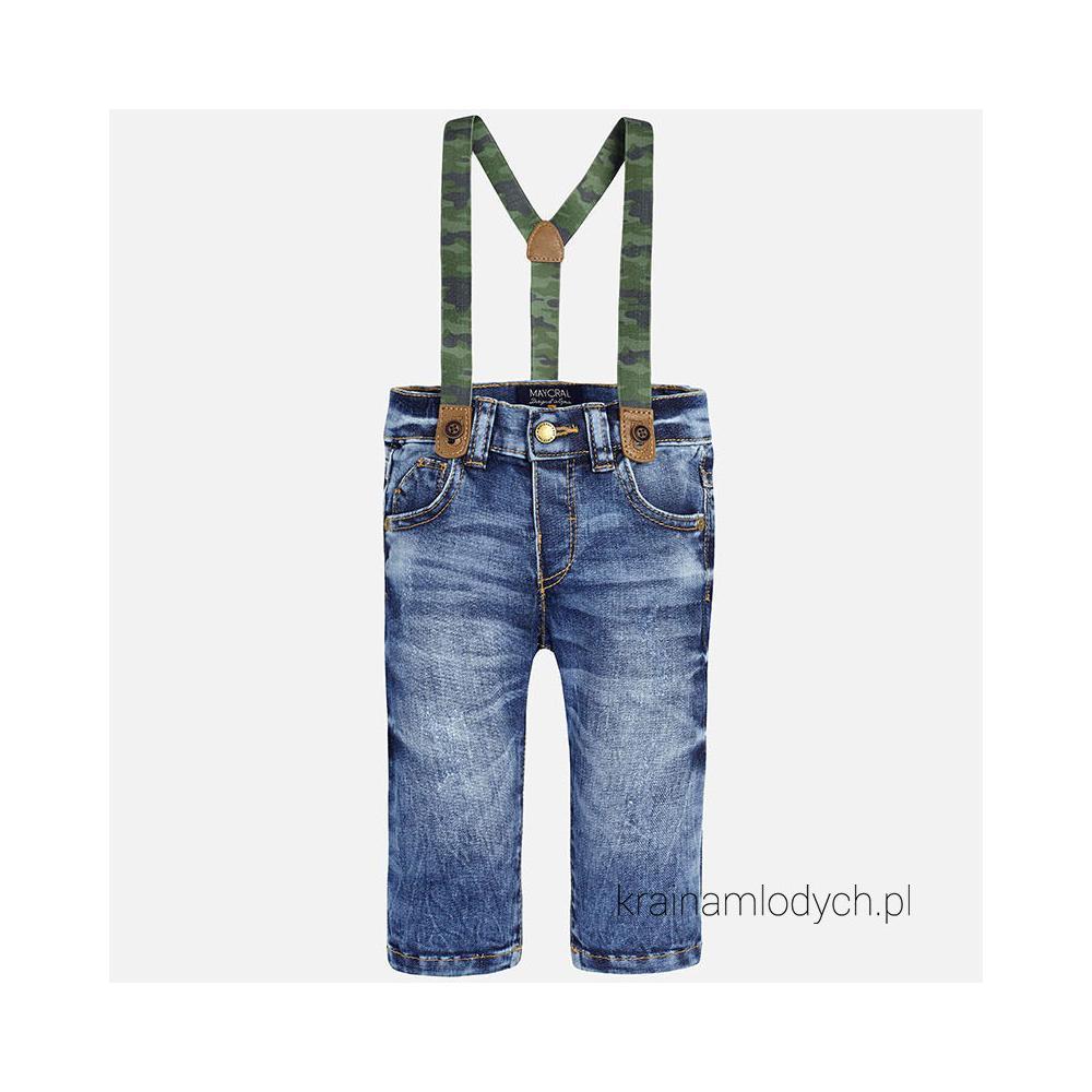 Spodnie chłopięce jeansowe z szelkami