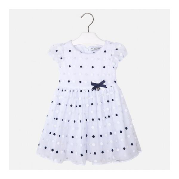 Sukienka biała w groszki 3919 Mayoral