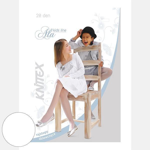 Białe rajstopy dziecięce Knittex Ala 20 den