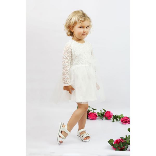 Tiulowa sukienka z koronkowym rękawem Elena Al-Da