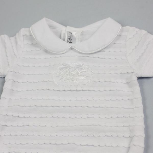 Białe body z haftem Minetti Madam Coco