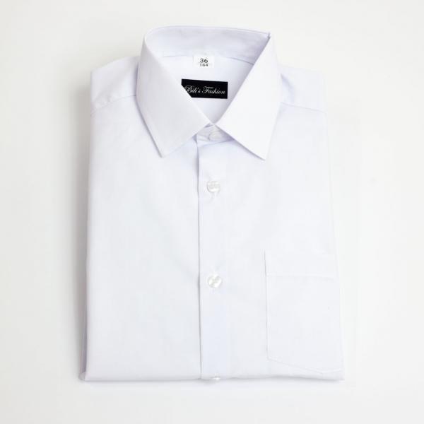 Biała koszula wizytowa krótki rękaw Biks