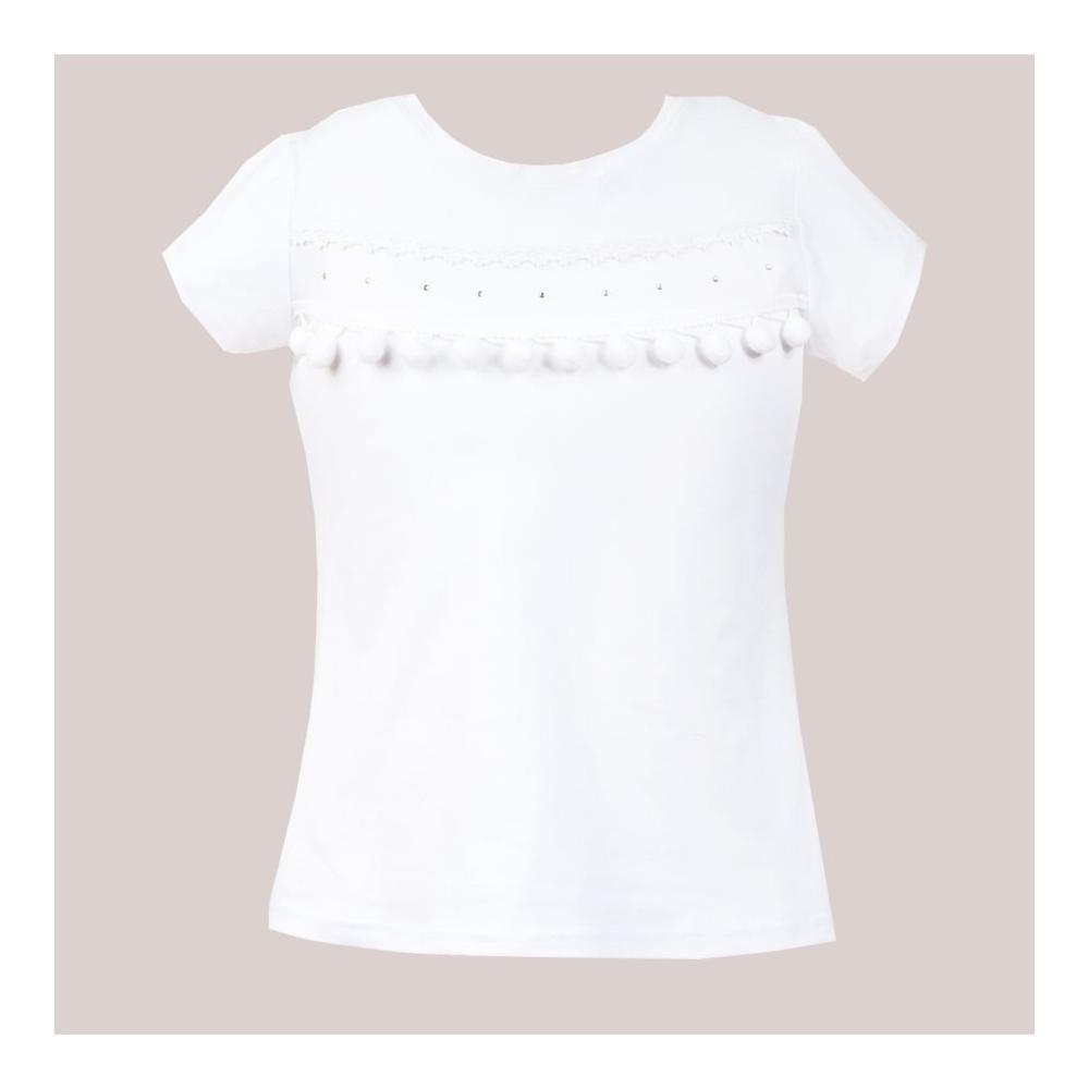 Bluzka biała z pomponami Bianka