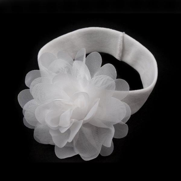 Biała opaska elastyczna z kwiatkiem