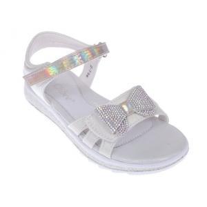 Błyszczące sandały dziewczęce z kokardką Z-736