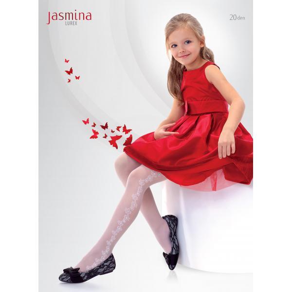 Białe rajstopy dziecięce z wzorem Knittex Jasmina 20 den