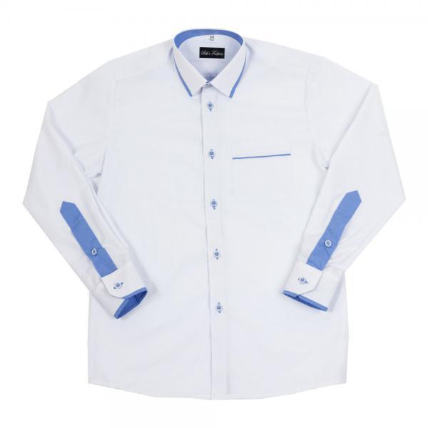 Biała koszula chłopięca z niebieską lamówką