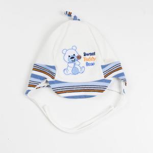 Niemowlęca czapka z daszkiem Sweet Teddy kremowa