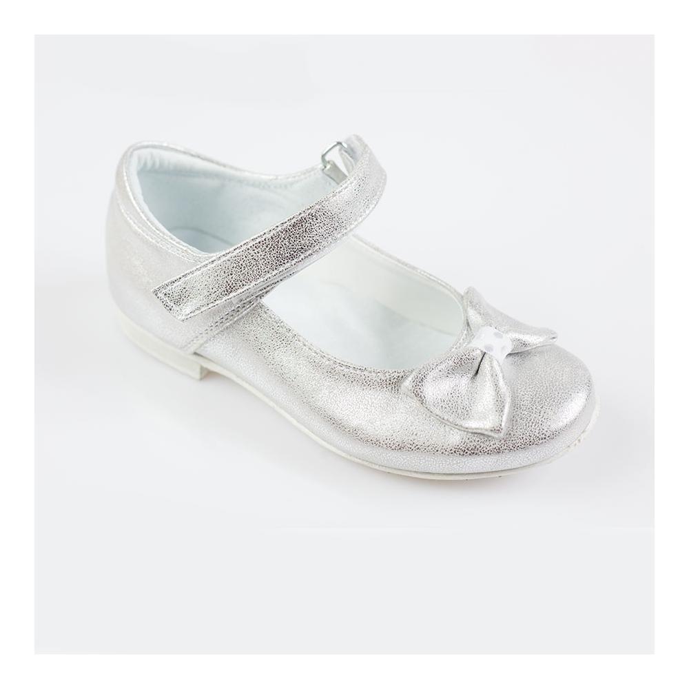Błyszczące srebrne balerinki KMK 130
