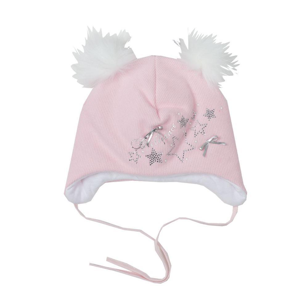 Zimowa czapka niemowlęca różowa 42