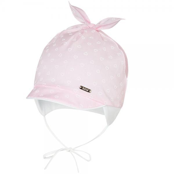 Niemowlęca czapka z daszkiem Felicjana różowa Broel