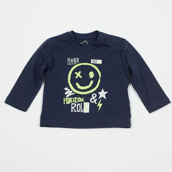 Chłopięcy T-shirt z długim rękawem granatowy 817-1302ac