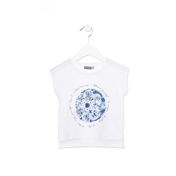 Biała koszulka dla dziewczynki Losan 816-1010ad