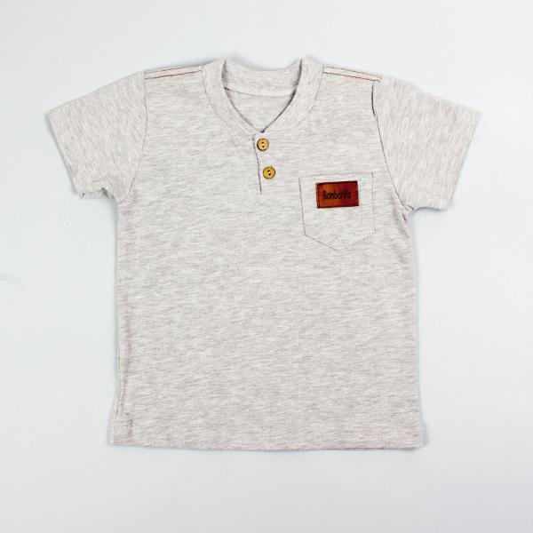 Szara gładka koszulka dla chłopca Adaś