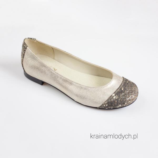 Szykowne baleriny złote  KMK 191 złote