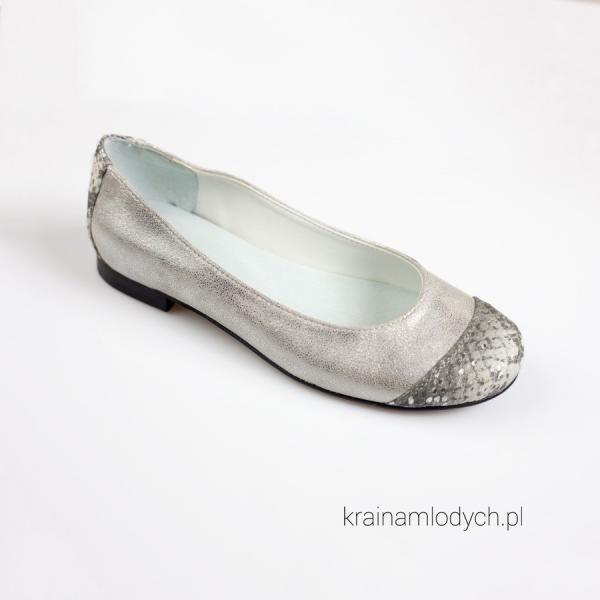 SZYKOWNE BALERINY srebrne KMK 191