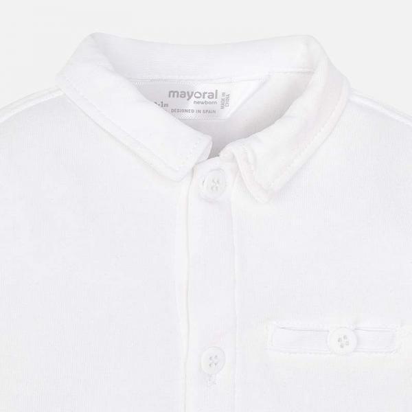 Białe body bawełniane koszulowe 1738 Mayoral