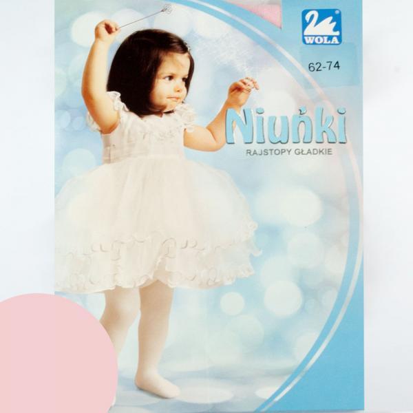 Różowe rajstopy niemowlęce Niuńki 0-2 Lata  WOLA