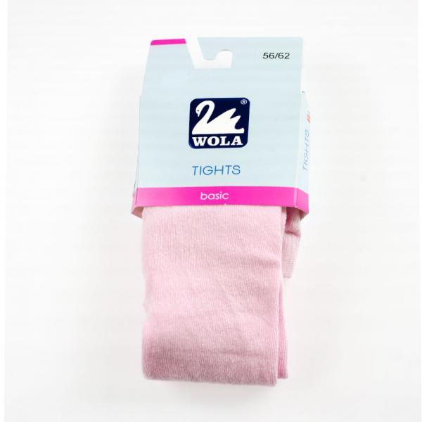 Różowe niemowlęce rajstopy bawełniane grube basic