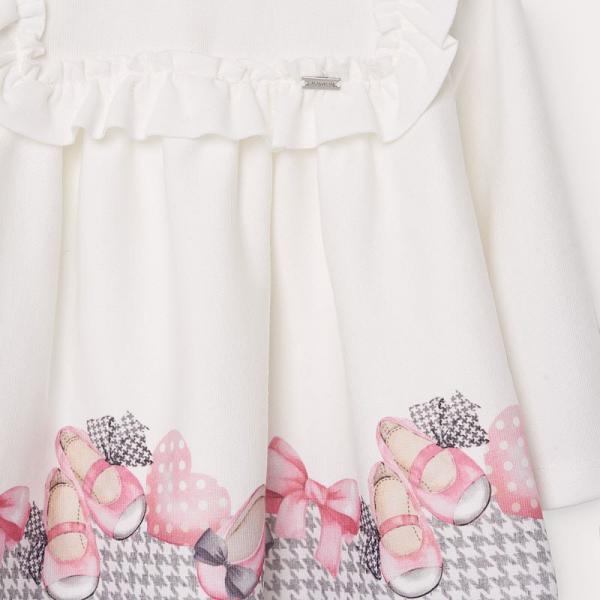 Niemowlęca sukienka z dołem w pepitko 2946 Mayoral